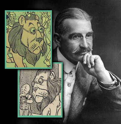 The Wizard of Oz and Political Symbolism: L Frank Baum with Cowardly Lion character inset. Similarities between the bespectacled Baum and Denslow's Cowardly Lion illustration are compelling.