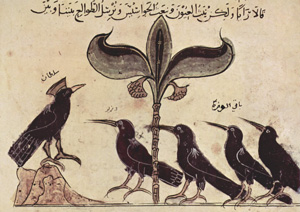 Tall Tales: Fable Folktale Fairy Tale Legend Myth — The crows from the Panchatantra by Arabischer Maler circa 1210